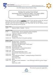 Seminar for teachers from Ireland - Holocaust Education Trust of ...