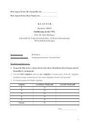 K L A U S U R Bachelor 2008/I Einführung in die VWL Prof. Dr. Peter ...