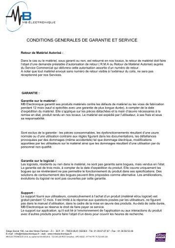 conditions generales de garantie et service - MB Electronique