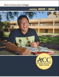 General Catalog for 2010-2011 - Alvin Community College