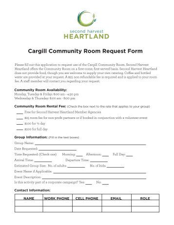 Cargill Community Room Request Form - Second Harvest Heartland