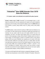 Tributaries'® New HDMI Extender Over CAT6 ... - Tributaries Cable