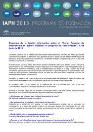 Resumen de la Sesión Informativa - IAPH. Instituto Andaluz del ...