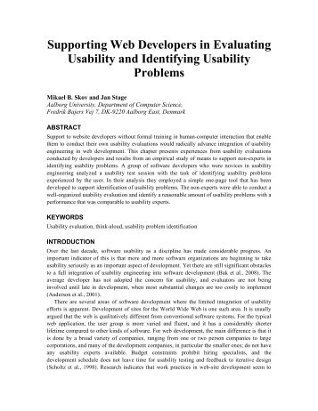 Supporting Web Developers in Evaluating Usability and Identifying ...