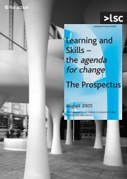 Learning and skills: the agenda for change - the prospectus