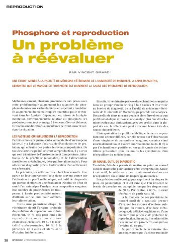 Un problème à réévaluer - Fédération des producteurs de lait du ...