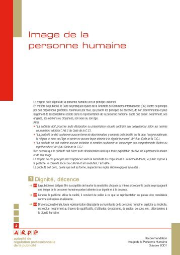 Recommandation Image de la personne humaine - ARPP