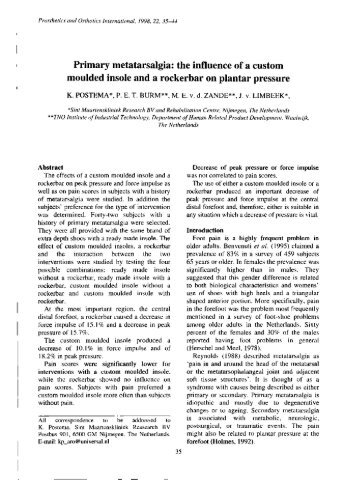Primary metatarsalgia: the influence of a custom moulded insole and ...