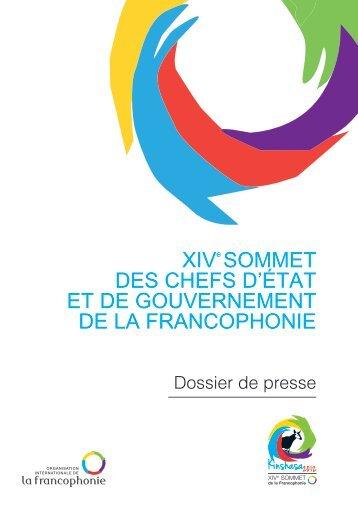 Le dossier de presse - Organisation internationale de la Francophonie