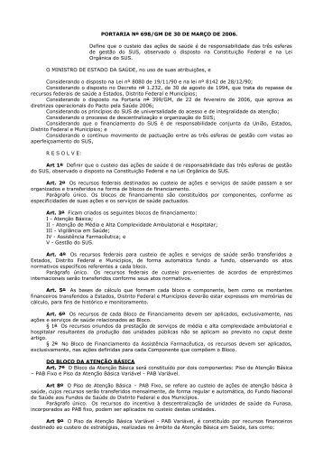 Portaria GM/MS nº 698/2006 - Secretaria da Saúde