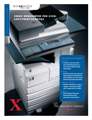 Xerox Duplex Printer-Copier WorkCentre Pro 416Si Product Brochure