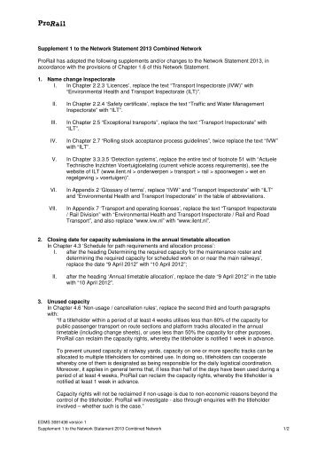 Supplement 1 to the Network Statement 2013 Combined ... - ProRail