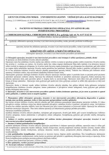 kirkšnies išvaržos atkryčio operacija - Lietuvos Sveikatos mokslų ...