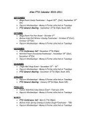 2010-2011 PTO Calendar (Tentative)