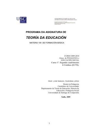 teoría da educación - Páxinas persoais - USC - Universidade de ...