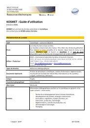 KOSMET : Guide d'utilisation