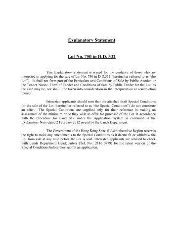 Explanatory Statement Lot No. 674 in D.D. Peng Chau