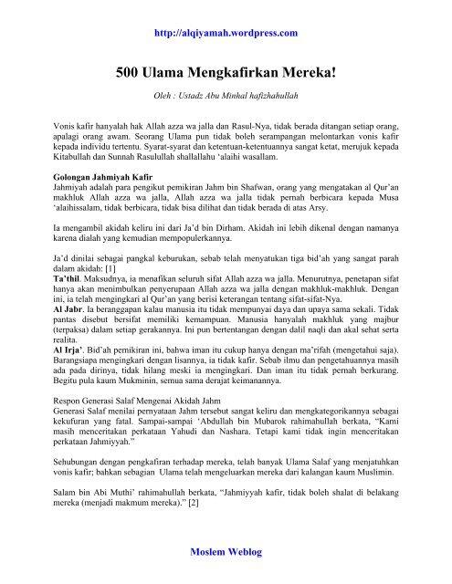 500 Ulama Mengkafirkan Mereka.pdf - alQiyamah - Moslem Weblog