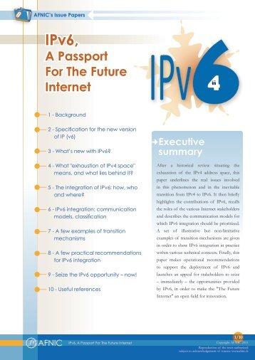 IPv6, A passport to the future internet - Afnic