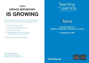 Bera Booklet 2007 - Teaching and Learning Research Programme