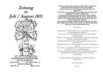 Zeitung Juli / August 2011 - Kindertagesstätte der Apostelkirche ...