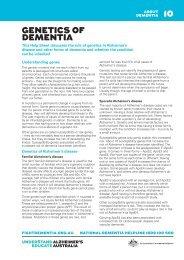 GENETICS OF DEMENTIA 10 - Alzheimer's Australia