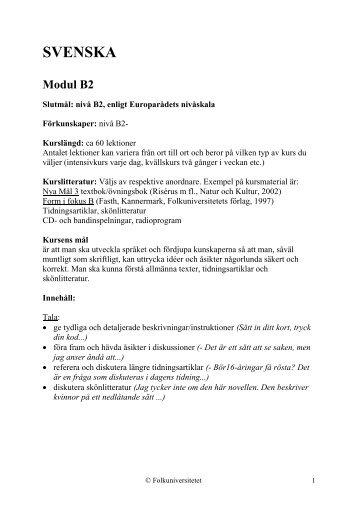 Kursplan B2 (pdf) - Folkuniversitetet