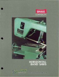 Dake Johnson Horizontal Band Saws Brochure - Sterling Machinery