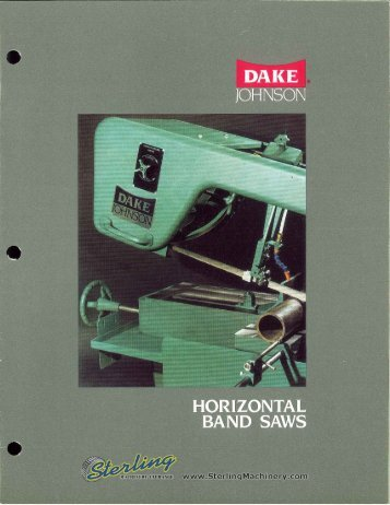 Dake Johnson Horizontal Band Saws Brochure - Sterling Machinery