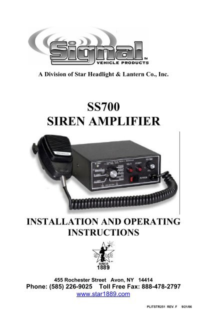 SS700 Siren Amplifier - Star Headlight & Lantern Co.Yumpu