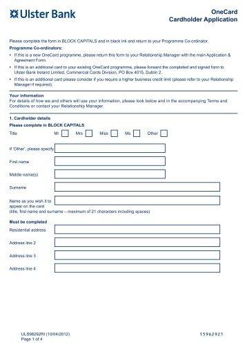 Cardholder application form - Ulster Bank