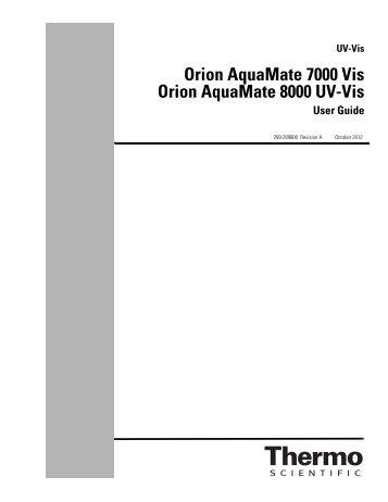 Orion AquaMate 7000 Vis Orion AquaMate 8000 UV-Vis - Daigger