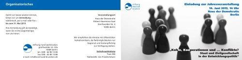 Organisatorisches - Stiftung Nord-Süd-Brücken
