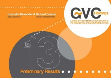 Preliminary results for the year ended 31 December 2012