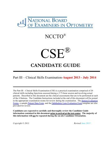 Clinical Skills - National Board of Examiners in Optometry