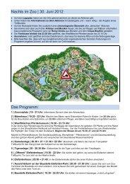 Nachts im Zoo | 30. Juni 2012 Das Programm: - Allwetterzoo Münster