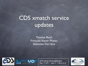 CDS XMatch service updates - IVOA