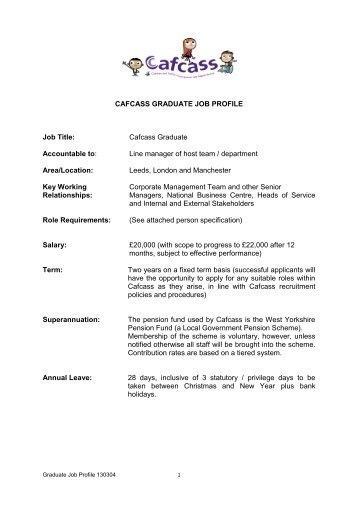 Job Profile and Person Specification - Cafcass