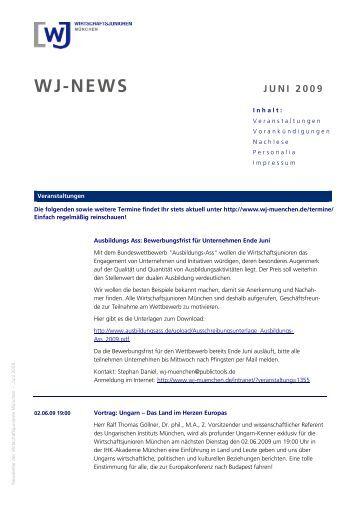 Newsletter der Wirtschaftsjunioren München - Mai 2009