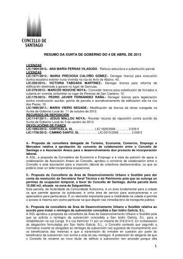 Resumo da Xunta de Goberno - Concello de Santiago de Compostela