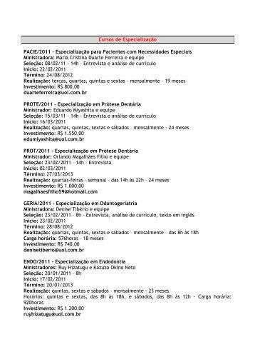 Cursos de Especialização PACIE/2011 – Especialização ... - APCD
