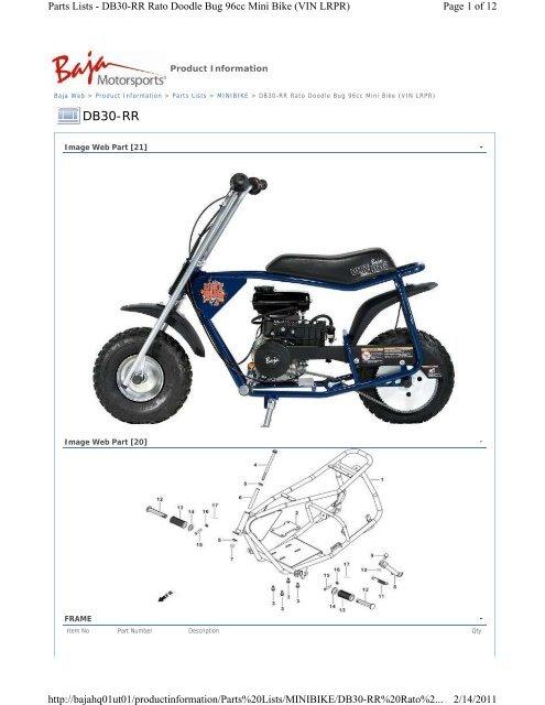 Parts Lists - DB30-RR Rato Doodle Bug 96cc - Baja MotorsportsYumpu