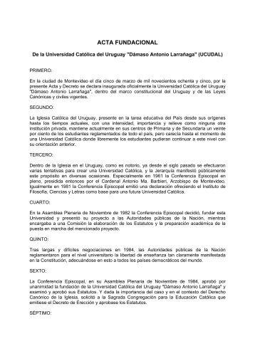 acta fundacional - Iglesia Católica Conferencia Episcopal del Uruguay