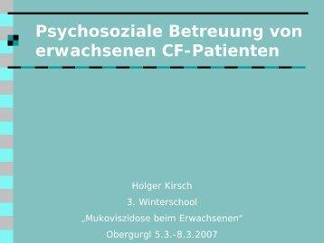 Psychosoziale Betreuung von erwachsenen CF-Patienten