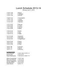Lunch Schedule 2013-14