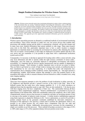 Simple Position Estimation for Wireless Sensor Networks - UCL ...