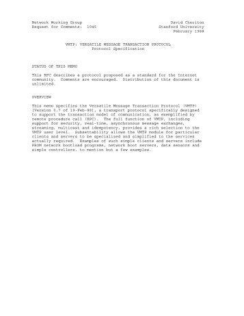 1045 Stanford University February 1988 VMTP