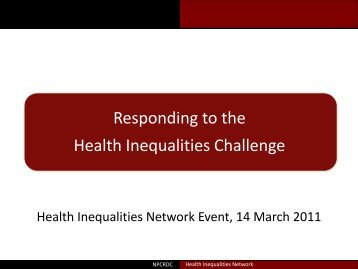 Responding to the Health Inequalities Challenge