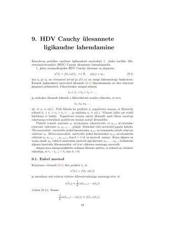 9. HDV Cauchy ülesannete ligikaudne lahendamine