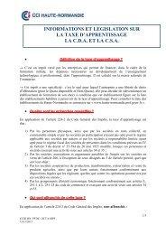Informations – Législation sur la Taxe d ... - (CCI) de Rouen